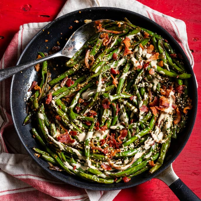 Skillet-Roasted Green Beans with Bacon, Black Bean Garlic Sauce, and Tahini