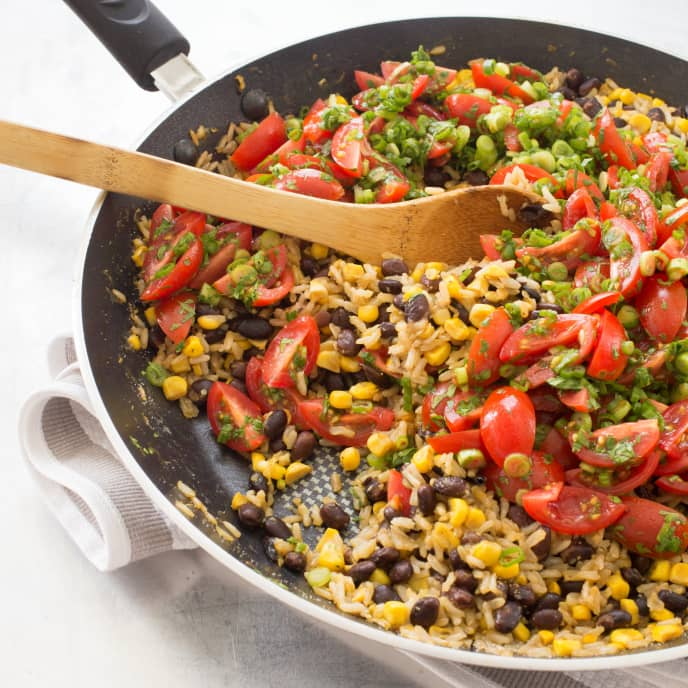 Brown Rice and Beans with Corn and Cherry Tomato Salsa