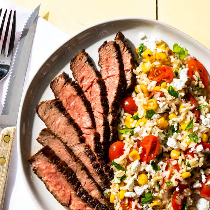 Skirt Steak with Tomato, Corn, and Brown Rice Salad