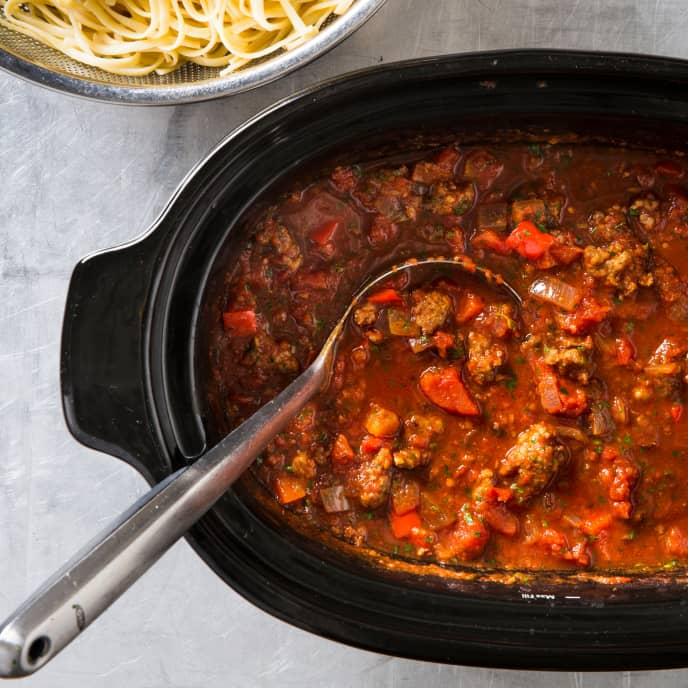 Slow-Cooker Sausage Ragu With Red Peppers