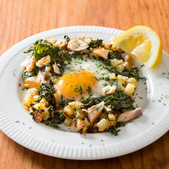 Smoked Trout Hash with Eggs