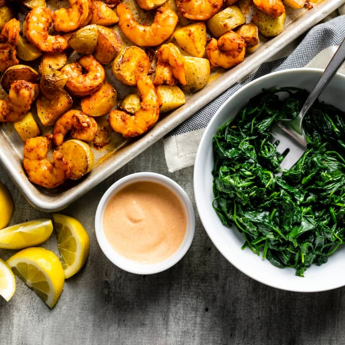 Smoky Roasted Shrimp and Potatoes with Garlicky Spinach