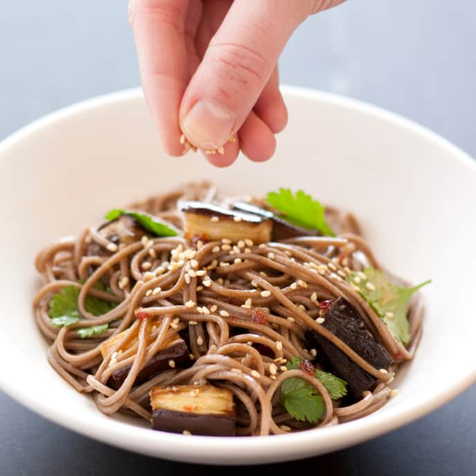 Gluten-Free Soba Noodles with Roasted Eggplant and Sesame