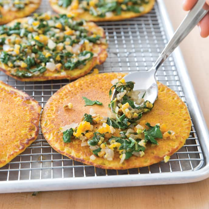 Vegan Socca with Swiss Chard, Pistachios, and Apricots