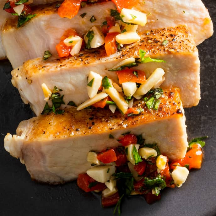 Sous Vide Boneless Thick-Cut Pork Chops with Red Pepper and Almond Relish for Two