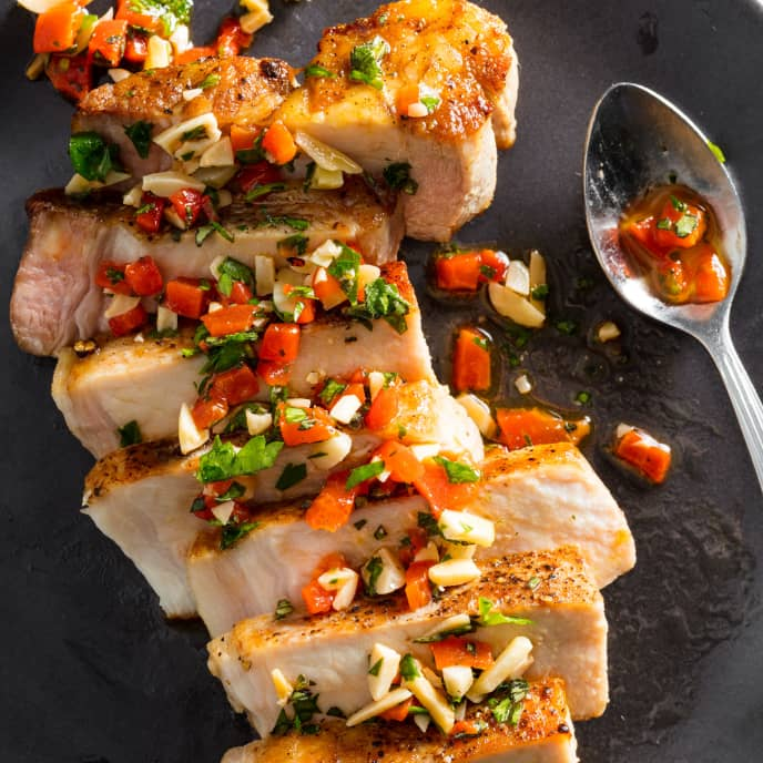 Sous Vide Boneless Thick-Cut Pork Chops with Red Pepper and Almond Relish
