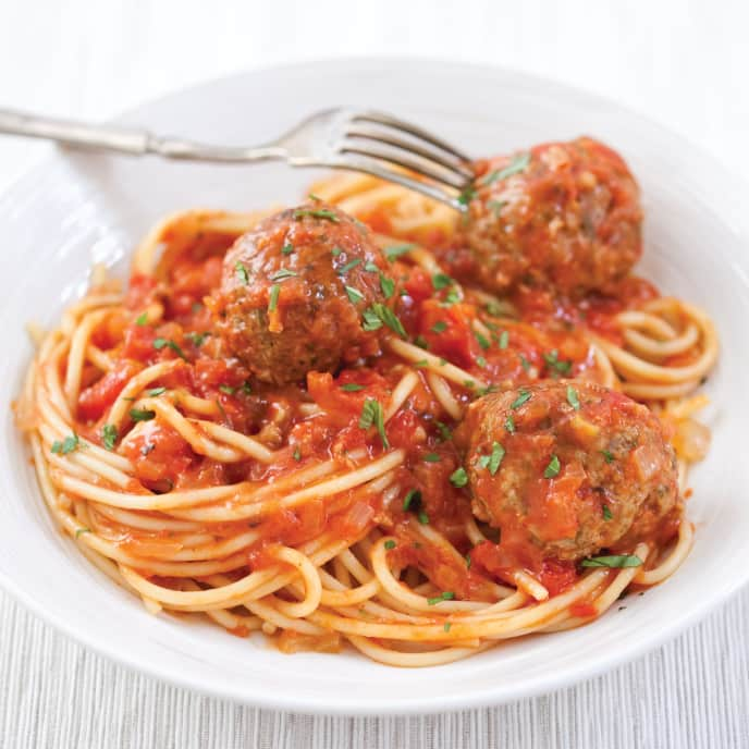 Spaghetti and Turkey-Pesto Meatballs for Two