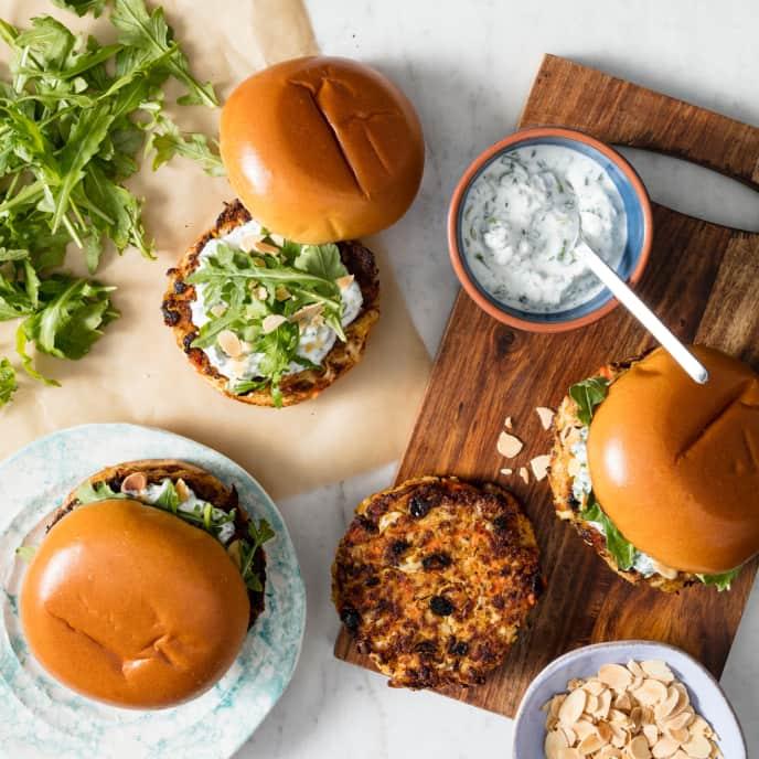 Spiced Cauliflower Burgers with Yogurt Sauce