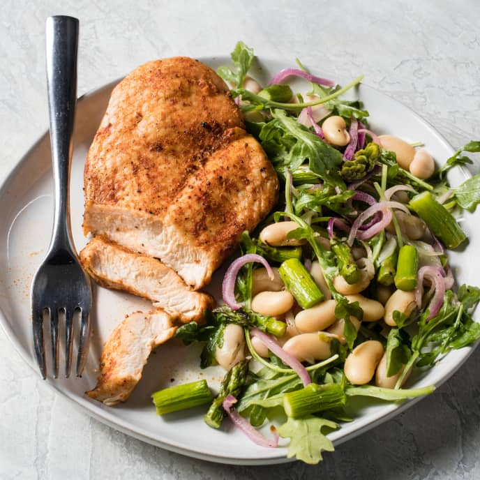Air-Fryer Spiced Chicken Breasts with Asparagus, Arugula, and Cannelini Bean Salad