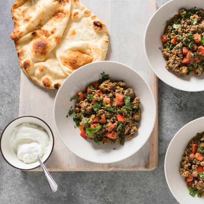 Spicy Lamb with Lentils and Yogurt