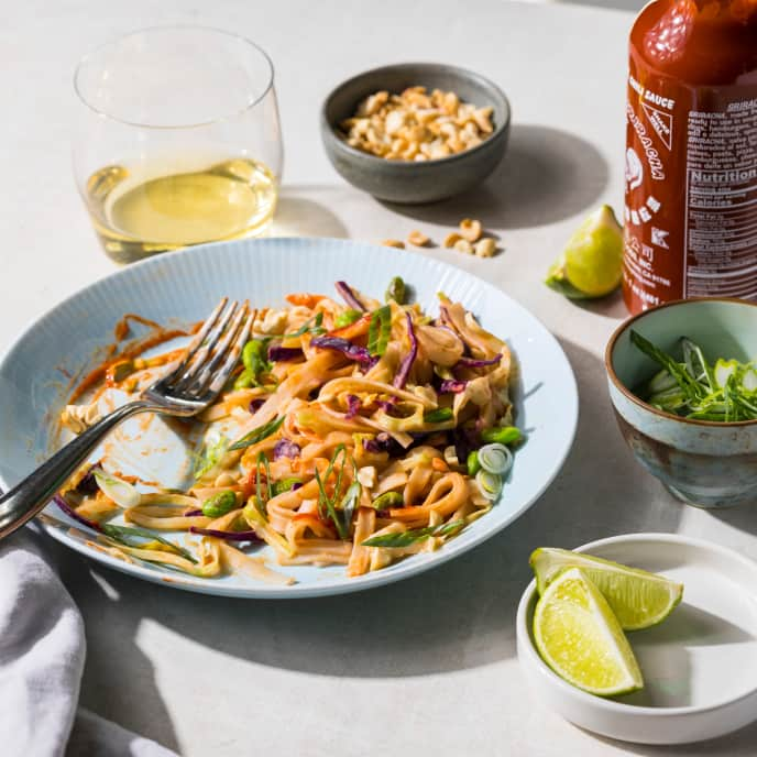 Spicy Peanut Rice-Noodle Bowl for One