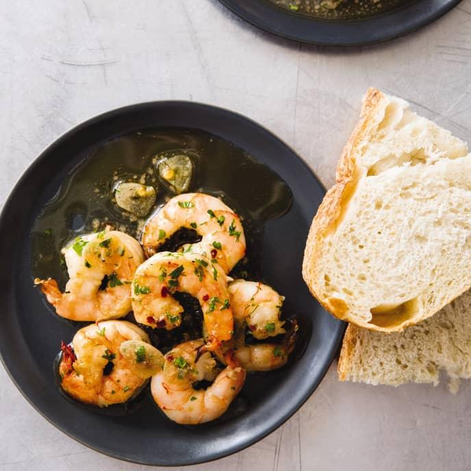 Cast Iron Spicy Garlic Shrimp