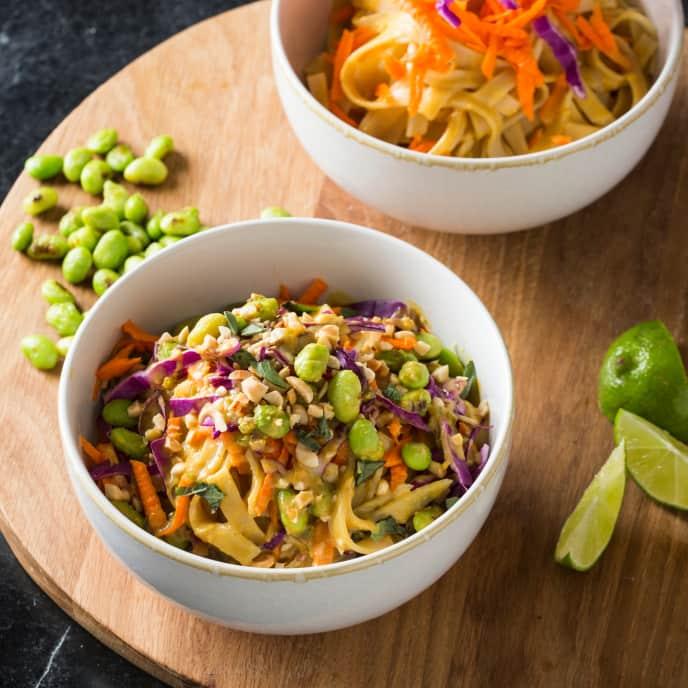 Vegan Spicy Peanut Rice Noodle Bowl