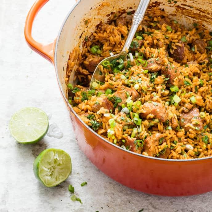 One-Pot Spicy Pork Tinga and Rice