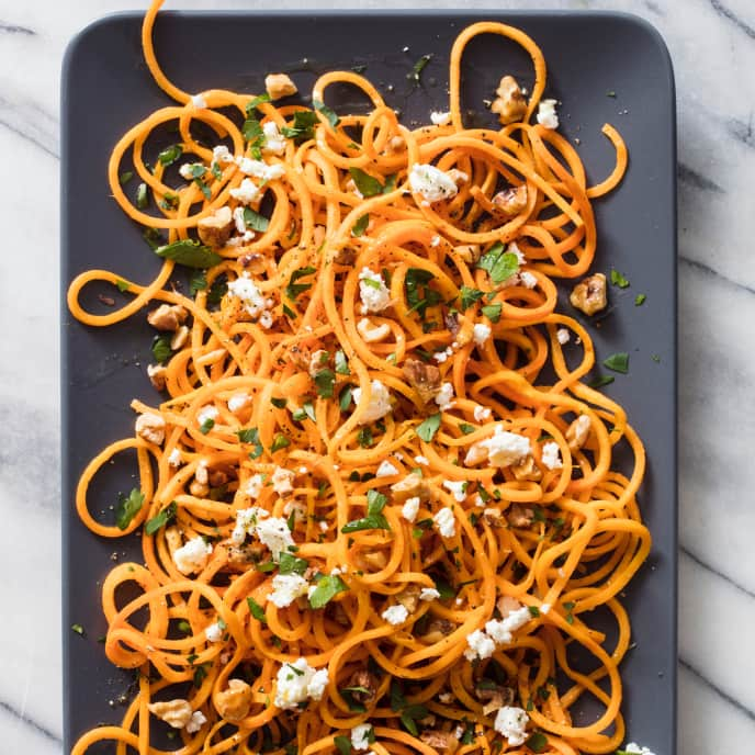 Spiralized Sweet Potatoes with Walnuts and Feta