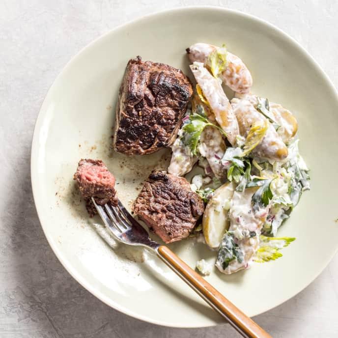 Steak Tips and Horseradish Potato Salad