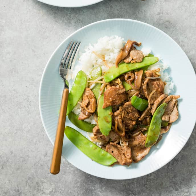 Stir-Fried Pork with Shiitakes and Snow Peas for Two