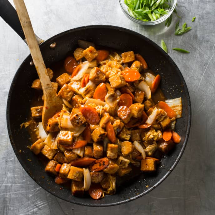 Vegan Stir-Fried Tempeh, Napa Cabbage, and Carrots