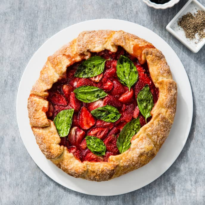 Strawberry Galette with Candied Basil and Balsamic