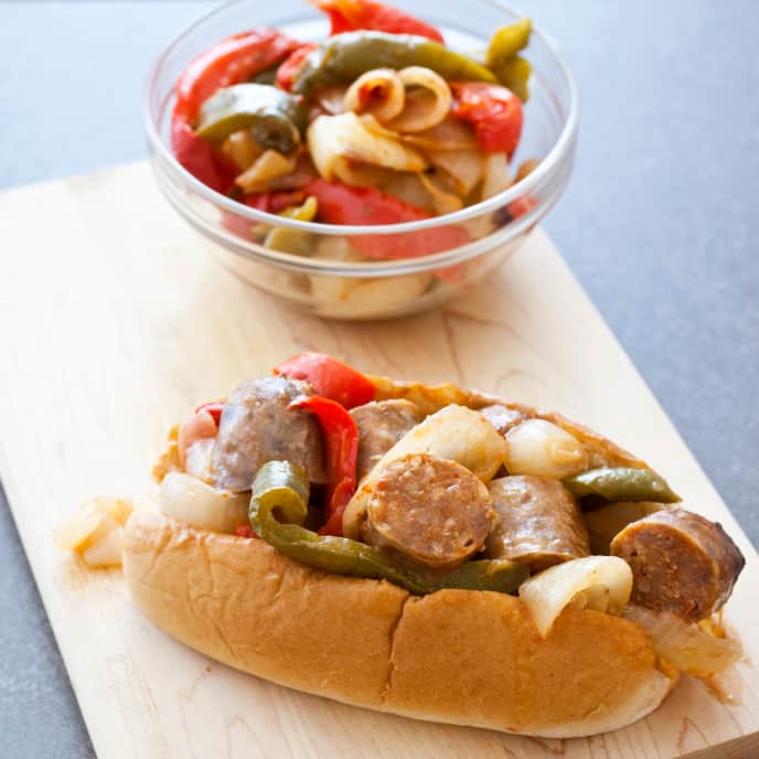 Slow-Cooker Street Fair Sausages With Peppers and Onions