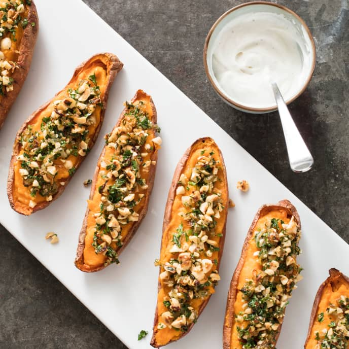 Baked Stuffed Sweet Potatoes with Shallots and Hazelnuts