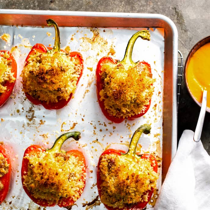 Sausage-Stuffed Peppers with Spicy Red Pepper Sauce