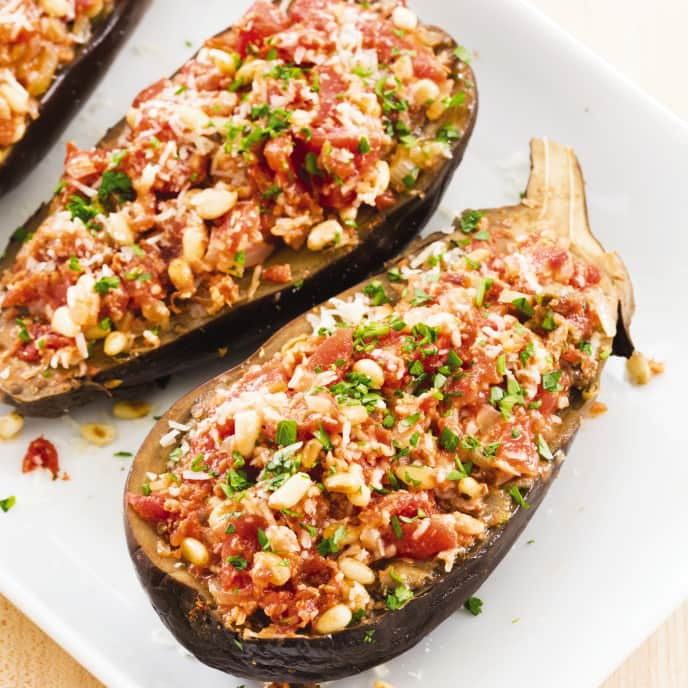 Slow-Cooker Stuffed Spiced Eggplants With Tomatoes and Pine Nuts