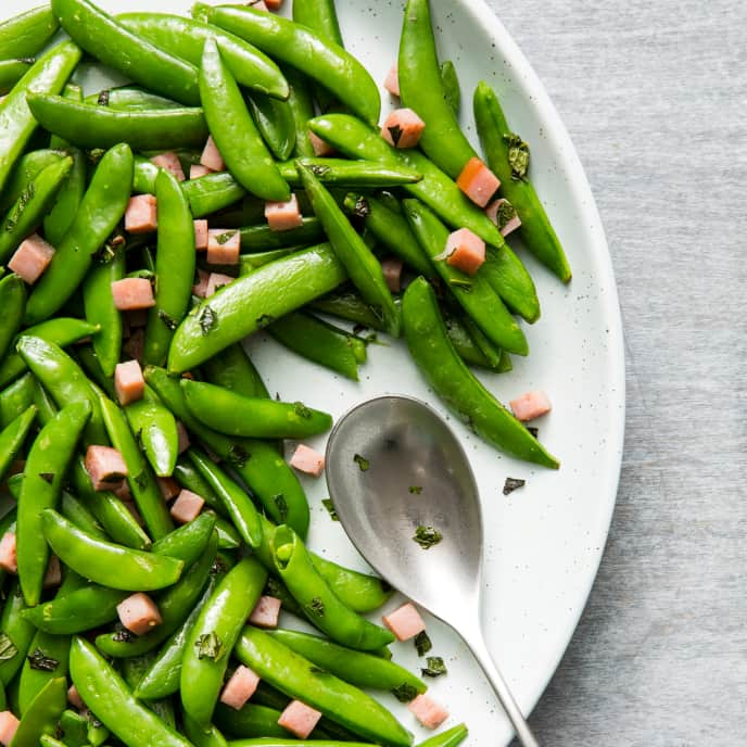 Sugar Snap Peas with Ham and Mint