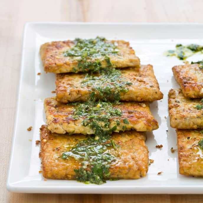 Pan-Seared Tempeh Steaks with Chimichurri Sauce