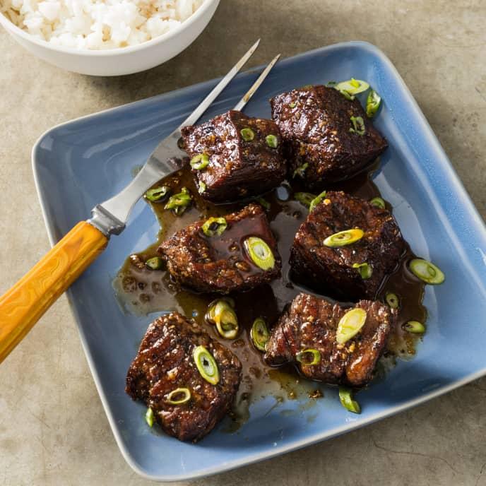 Teriyaki-Glazed Steak Tips for Two
