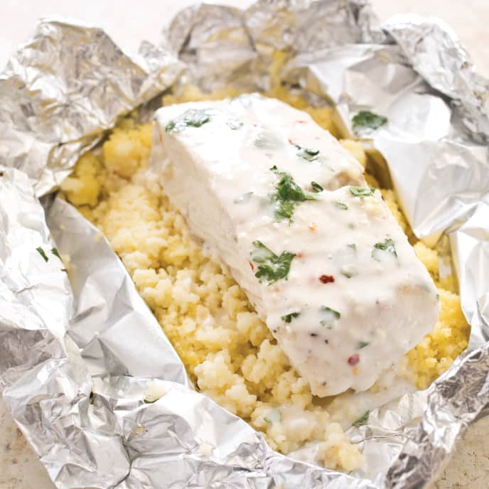Halibut and Creamy Coconut Couscous Packets