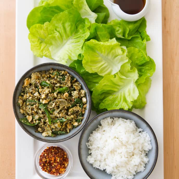 Thai-Style Tofu and Basil Lettuce Cups