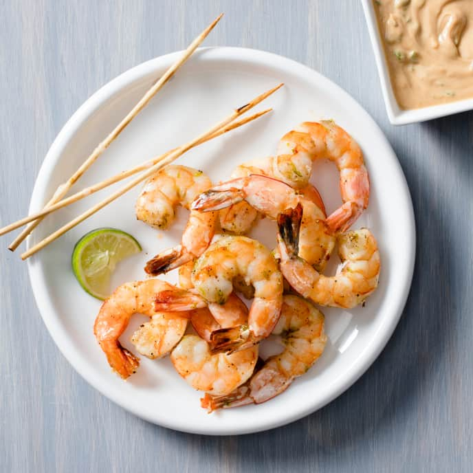 Air-Fryer Thai Shrimp Skewers with Peanut Dipping Sauce