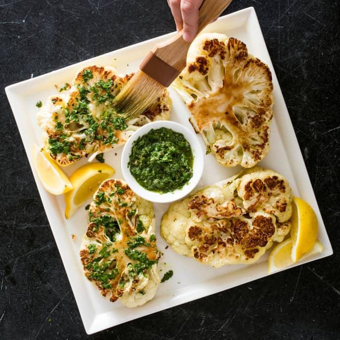 Vegan Cauliflower Steaks with Salsa Verde