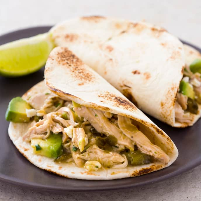 Slow-Cooker Tomatillo Chicken Soft Tacos