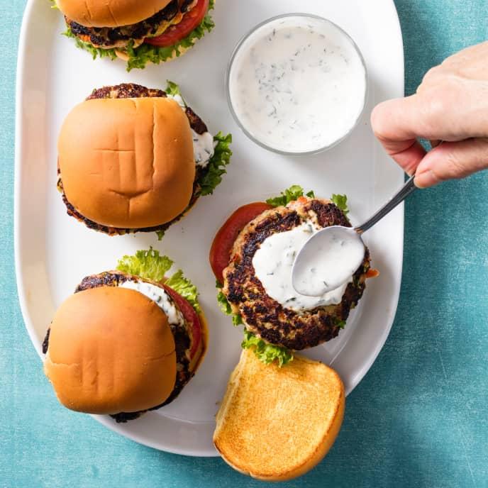 Turkey-Veggie Burgers with Lemon-Basil Sauce