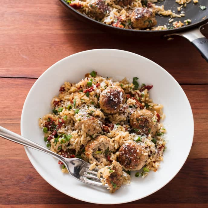Turkey Meatballs with Lemony Brown Rice and Sun-Dried Tomatoes