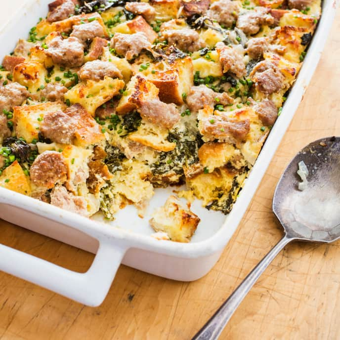 One-Pan Savory Bread Pudding with Turkey Sausage and Kale
