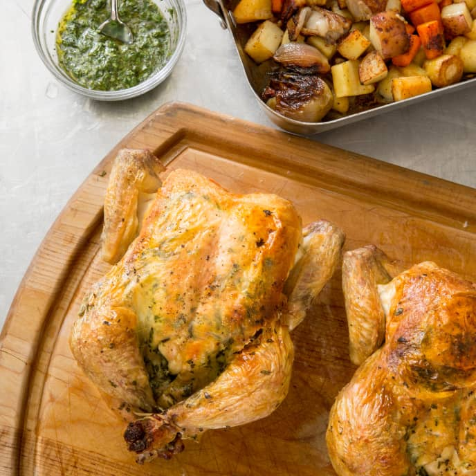 One-Pan Twin Roast Chickens with Root Vegetables and Tarragon Vinaigrette