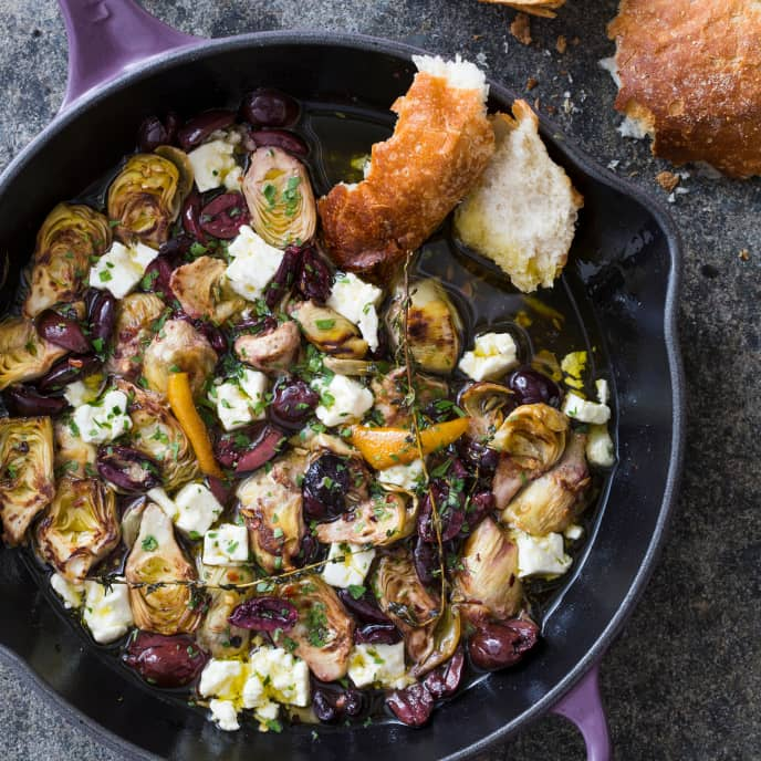 Cast Iron Warm Marinated Artichoke Hearts with Olives and Feta
