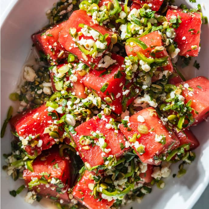 Watermelon Salad with Cotija and Serrano Chiles
