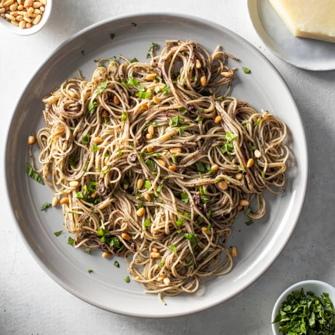 Angel Hair Pasta with Kalamata Olive and Basil Sauce