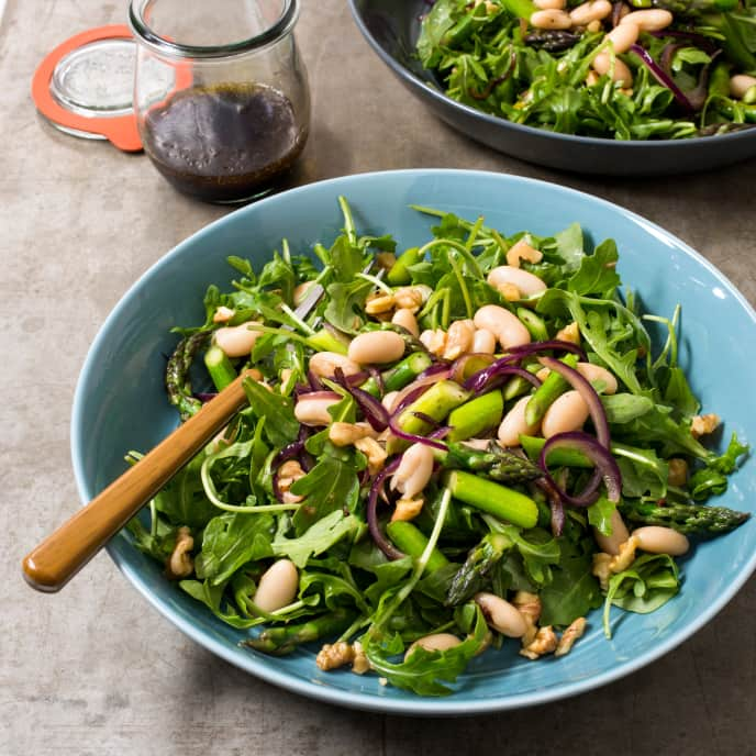 Asparagus, Arugula, and Cannellini Bean Salad with Walnuts
