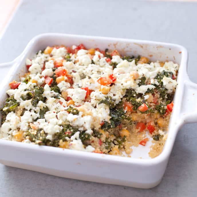 One-Pan Baked Quinoa with Kale and Chickpeas