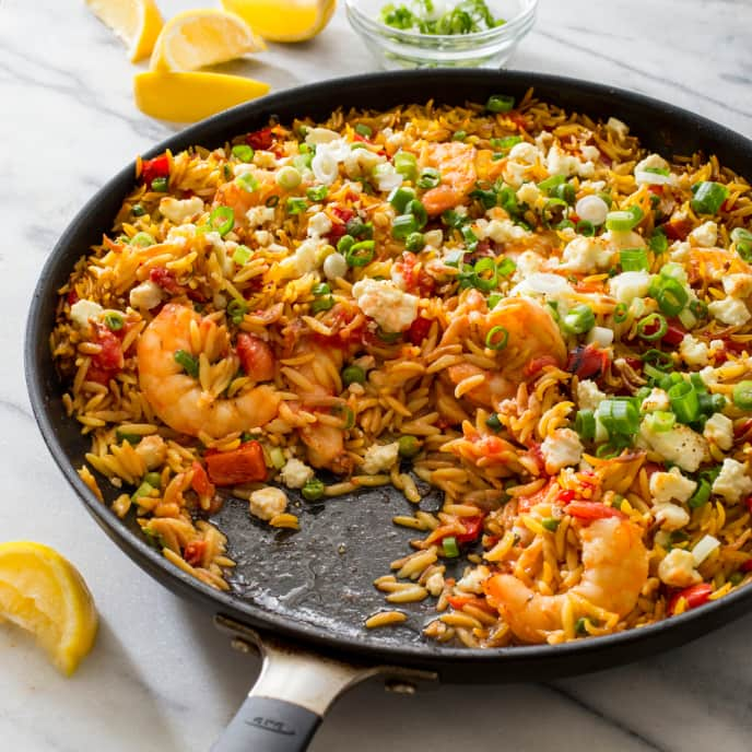 Baked Shrimp and Orzo with Feta and Tomatoes