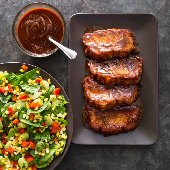 Barbecued Pork Chops with Succotash Salad
