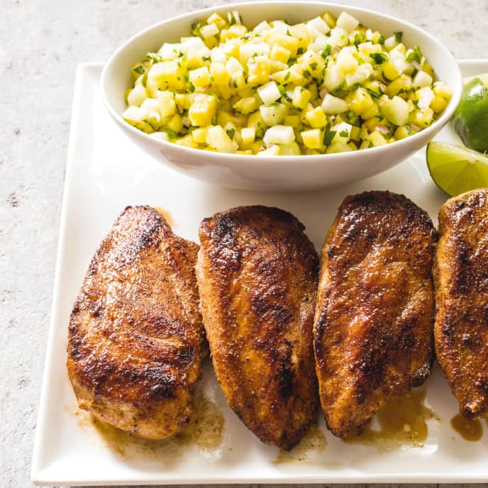 Cast Iron Blackened Chicken with Pineapple-Cucumber Salsa
