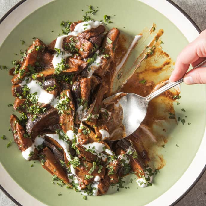 Braised Eggplant with Paprika, Coriander, and Yogurt