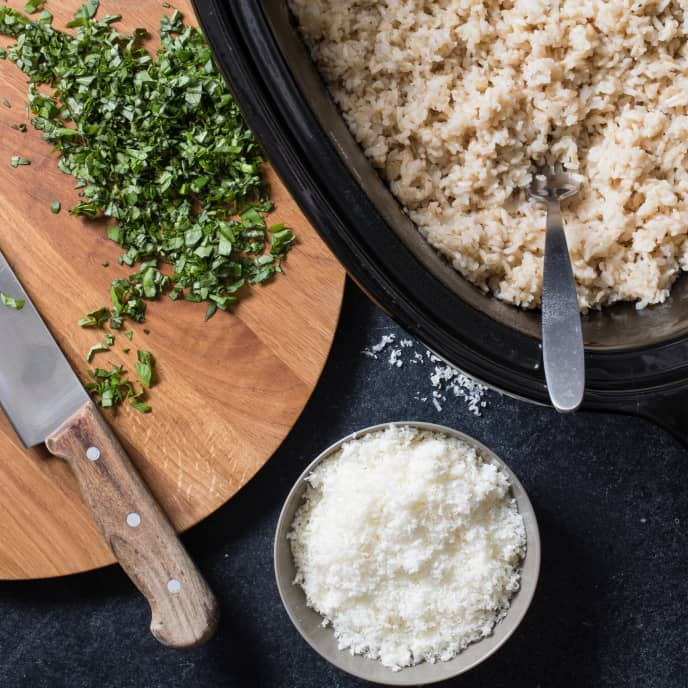 Slow-Cooker Brown Rice With Parmesan and Herbs