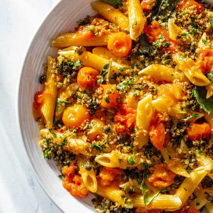 Pasta with Burst Cherry Tomato Sauce and Fried Caper Crumbs
